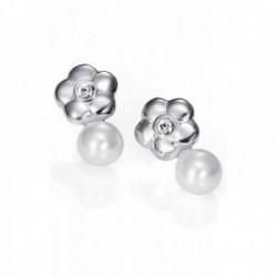 Pendientes plata Ley 925m Viceroy 1118E000-60 flor centro cristal Swarovski perla sintética