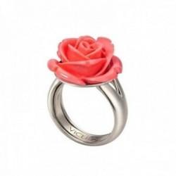 Sortija plata Ley 925m Viceroy talla 13 centro rosa flor color salmón 1100A015-04 [AB9982]