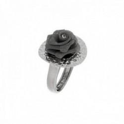 Sortija plata Ley 925m Viceroy talla 22 rosa flor malla centro cristal Swaroski 1060A020-23 [AB9984]