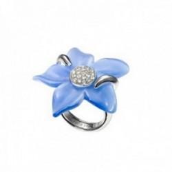 Sortija plata Ley 925m Viceroy talla 20 flor azul claro centro cuajo circonitas 1061A015-93 [AB9986]