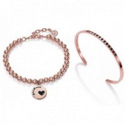 Pack pulseras Viceroy Fashion mujer acero inoxidable rosa 90053k09019 pulsera bolas brazalete