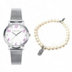 Pack reloj Viceroy 42322-05 niña acero inoxidable pulsera perlas cultivadas virgen plata Ley 925m