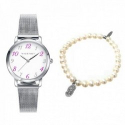 Pack reloj Viceroy niña acero inoxidable pulsera perlas virgen plata 42322-05 [AC1067]