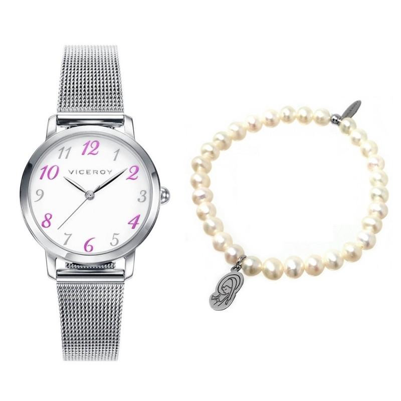 423341f6ebaa Pack reloj Viceroy 42322-05 niña acero inoxidable pulsera perlas cultivadas  virgen plata Ley 925m. Loading zoom