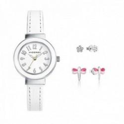 Pack reloj Viceroy niña piel blanco pendientes flor pendientes libélula 401030-05 [AC1068]
