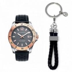 Pack reloj Viceroy hombre detalles rosados llavero negro 401005-97
