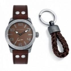 Pack reloj Viceroy hombre Rebel Men piel marrón acero con llavero a juego 432219-45 [AC1079]