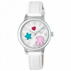 Reloj Tous niña Muffin acero inoxidable correa piel blanca corazón estrella oso 800350625 [AC1094]