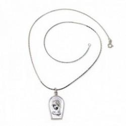 Colgante plata Ley 925m medalla Virgen Niña cadena semirrígida 43cm. cobra cuadrada [AC1098]
