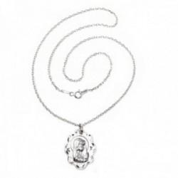Colgante plata Ley 925m Virgen Niña calada ovalada cadena 45cm. forzada [AC1100GR]