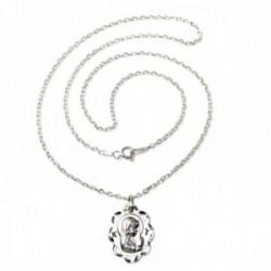 Colgante plata Ley 925m medalla Virgen Niña 21mm. calada ovalada cadena 45cm. forzada [AC1103GR]