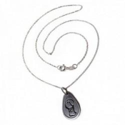 Colgante plata Ley 925m medalla 21mm. Virgen Niña cadena 45cm. forzada ligera [AC1108]