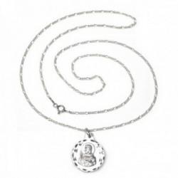 Colgante escapulario plata Ley 925m Virgen Carmen Corazón Jesús cadena 60cm. alternada 3x1 [AC1111]