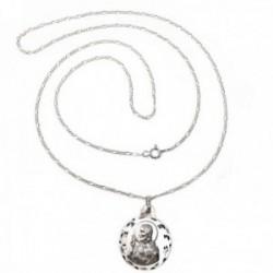 Colgante plata Ley 925m escapulario Virgen Carmen Corazón Jesús cadena 60cm. alternada 3x1 [AC1114]