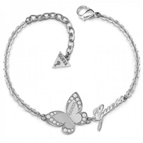 Pulsera Guess Love Butterfly UBB78049-S acero inoxidable quirúrgico logo chapada rodio