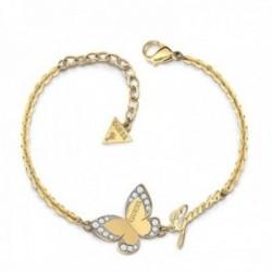 Pulsera Guess Love Butterfly UBB78050-S acero inoxidable logo chapada oro