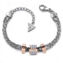 Pulsera Guess Love Knot acero inoxidable quirúrgico cilindros chapado oro rosa UBB78060-S mujer