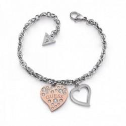 Pulsera Guess Heart Warming UBB78095-S acero inoxidable corazón chapado oro rosa