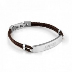 Pulsera Guess Men In Guess acero inoxidable quirúrgico cuero trenzado marrón UMB78013 [AC1144]