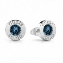 Pendientes Guess Shiny Crystals azul acero inoxidable quirúrgico chapados rodio UBE78091 [AC1146]