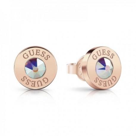 Pendientes Guess Shiny Crystals acero inoxidable quirúrgico chapados oro rosa UBE78096