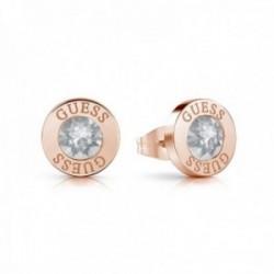 Pendientes Guess Shiny Crystals acero inoxidable quirúrgico chapados oro rosa UBE78099 [AC1152]