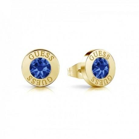 Pendientes Guess Shiny Crystals UBE78101 azul acero inox. quirúrgico chapados oro cristal Swarovski
