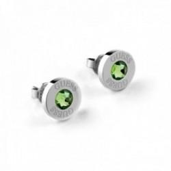 Pendientes Guess Shiny Crystals UBE78106 verde acero inoxidable quirúrgico chapados rodio