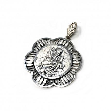 Medalla plata ley 925m Virgen Carmen 30mm. cerco rombos calada trasera lisa [AA9816GR]