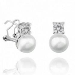 Pendientes plata Ley 925m 12.5mm. perla cultivada botón circonita rodiados cierre omega [AC1476]