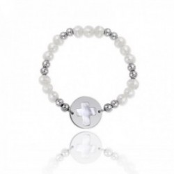 Pulsera plata Ley 925m Verutia cruz base nácar elástica rodiada primera comunión perlas cultivadas