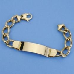 Esclava oro 18k barbada ancho separado 21cm. hueca ancho 12mm. hombre cierre mosquetón [AC1532]