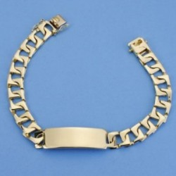 Esclava oro 18k barbada plana rectangular 22cm. maciza ancho 9mm. hombre cierre lengüeta [AC1536]