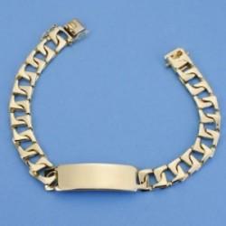 Esclava oro 18k barbada plana rectangular 22cm. maciza ancho 9mm. hombre cierre lengüeta [AC1536GR]