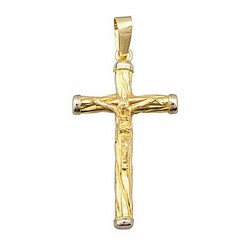 Cruz crucifijo oro 18k Cristo 31mm. bicolor palillo redondo reliado chatón extremos oro blanco