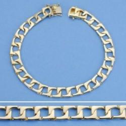 Pulsera oro 18k barbada plana rectangular 22cm. maciza ancho 8mm. hombre cierre lengüeta [AC1541]