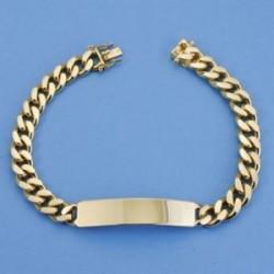 Esclava oro 18k barbada 22cm. maciza ancho 8mm. hombre cierre lengüeta [AC1542]