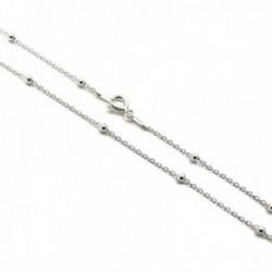 Cadena plata Ley 925m combinada 45cm. bolas cierre reasa mujer [AC1165]
