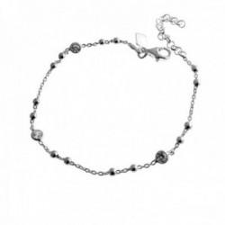 Pulsera plata Ley 925m 17cm. motivos bolas circonitas cierre mosquetón mujer [AC1194]