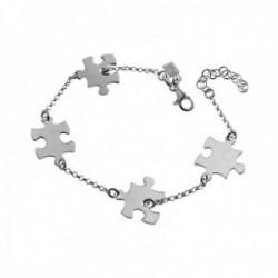 Pulsera plata Ley 925m rolo 16.5cm. puzzles cierre mosquetón mujer [AC1205]