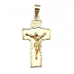 Cruz crucifijo oro 18k 32mm. Cristo borde irregular letrero INRI
