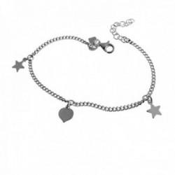 Pulsera plata Ley 925m barbada 16.5cm. estrellas corazón lisos cierre mosquetón mujer [AC1211]