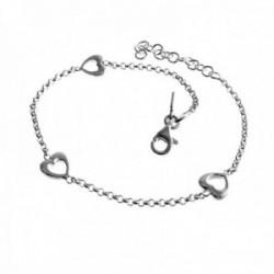 Pulsera plata Ley 925m rolo 17cm. corazones lisos cierre mosquetón mujer [AC1214]