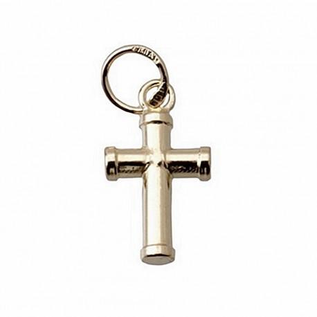 Cruz crucifijo oro 18k palo redondo [4884]