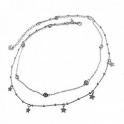 Gargantilla plata Ley 925m doble cadena estrellas puntos de luz cierre mosquetón mujer rodiada
