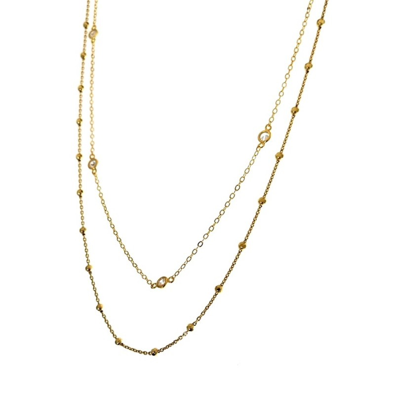 15c705b96ff2 Gargantilla plata Ley 925m dorada doble cadena bolas lisas circonitas mujer   AC1236
