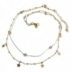 Gargantilla plata Ley 925m dorada doble cadena bolas estrellas circonitas cierre mosquetón [AC1237]