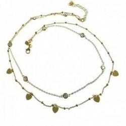 Gargantilla plata Ley 925m dorada doble cadena bolas corazones circonitas cierre mosquetón [AC1238]