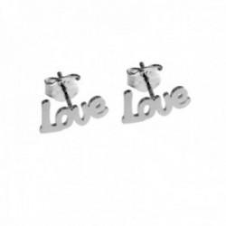 Pendientes plata Ley 925m LOVE 11mm. lisos láser cierre presión mujer [AC1239]