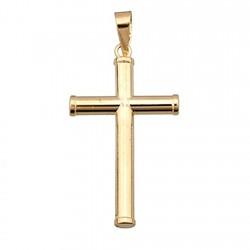 Cruz crucifijo oro 18k palo redondo [4893]